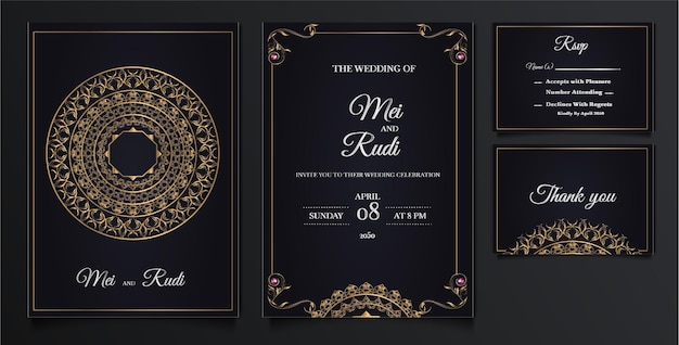 Elegante bruiloft uitnodigingskaarten set