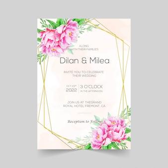 Elegante bruiloft uitnodigingskaarten sjabloon met aquarel bloemendecoratie