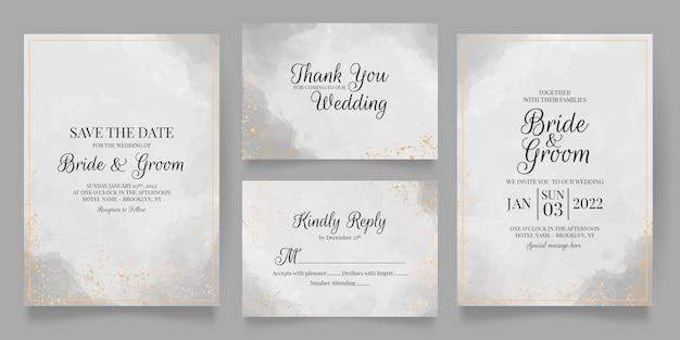 Elegante bruiloft uitnodigingskaarten sjabloon met aquarel decoratie
