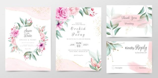 Elegante bruiloft uitnodigingskaarten sjabloon met aquarel florale decoratie