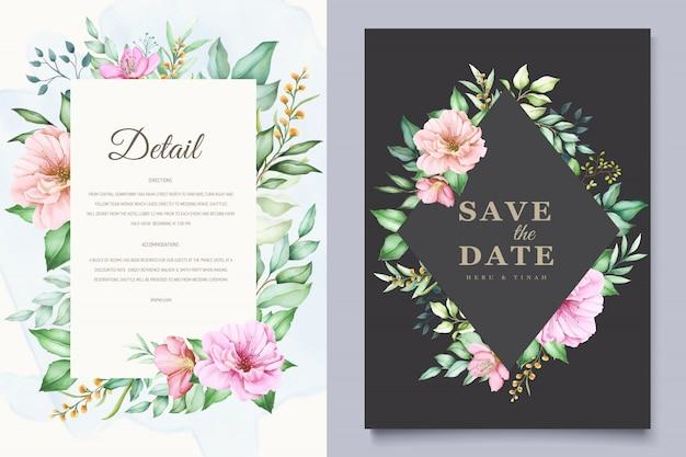 Elegante bruiloft uitnodigingskaarten sjabloon met aquarel kersenbloesem ontwerp