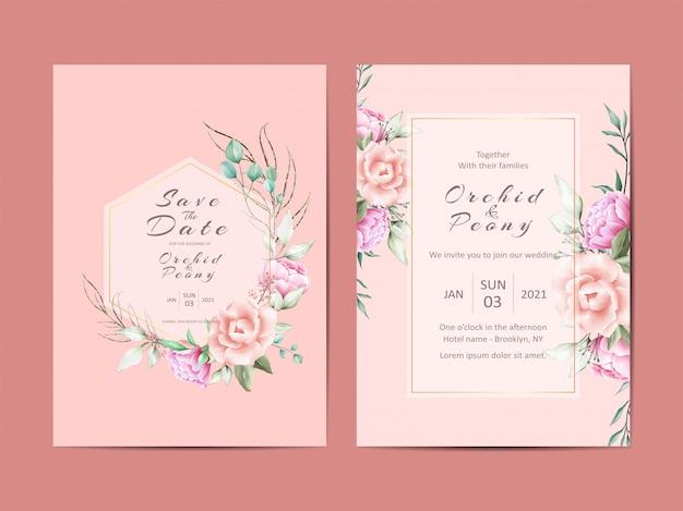 Elegante bruiloft uitnodigingskaarten van pioenen en rozen