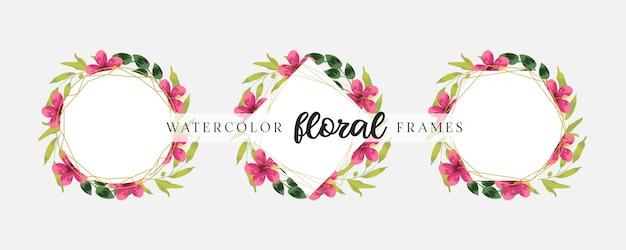 Elegante bruiloft uitnodigingskaartsjabloon ingesteld met geometrische bloemenframes