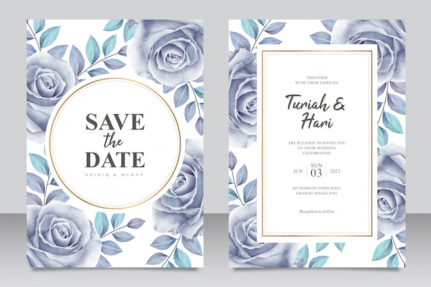 Elegante bruiloft uitnodigingskaartsjabloon met rozen blauwe aquarel
