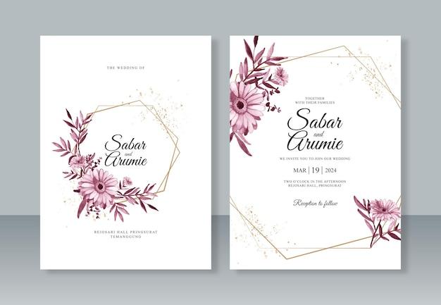 Elegante bruiloft uitnodigingssjabloon met aquarel bloemen en geometrische