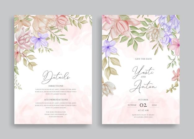 Elegante bruiloft uitnodigingssjabloon met aquarel bloemen