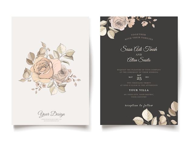 Elegante bruine bloemen uitnodigingskaartsjabloon