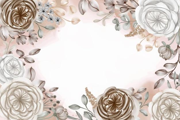 Elegante bruine karamel aquarel frame achtergrond