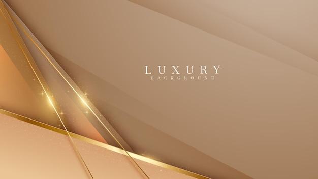 Elegante bruine schaduwachtergrond met gouden lijnelementen schitteren. realistische luxe papier gesneden stijl 3d modern concept. vectorillustratie voor ontwerp.