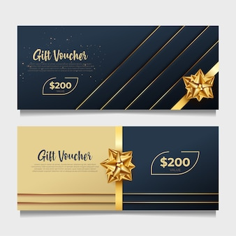 Elegante cadeaubon sjabloon met gouden stijl.