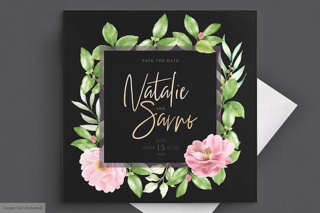 Elegante camellia bloemen bruiloft uitnodiging kaartsjabloon Gratis Vector