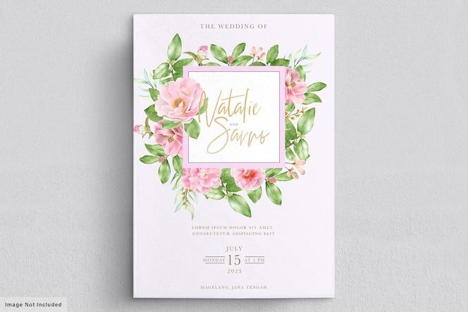 Elegante camellia bloemen bruiloft uitnodiging kaartsjabloon