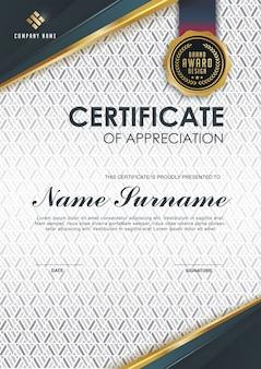Elegante certificaatsjabloon met gouden details