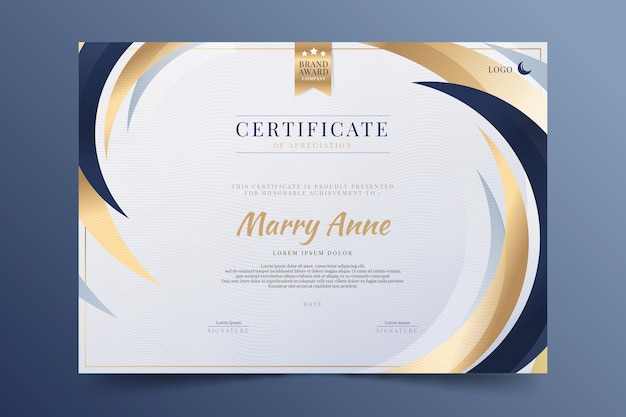Elegante certificaatsjabloon met verloop
