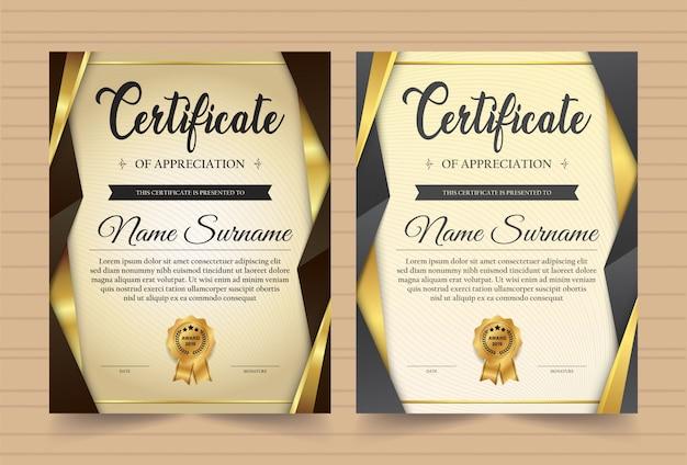 Elegante certificaatsjabloon vector met luxe en moderne patroon achtergrond