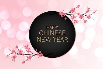Elegante Chinese nieuwe jaarbloemachtergrond