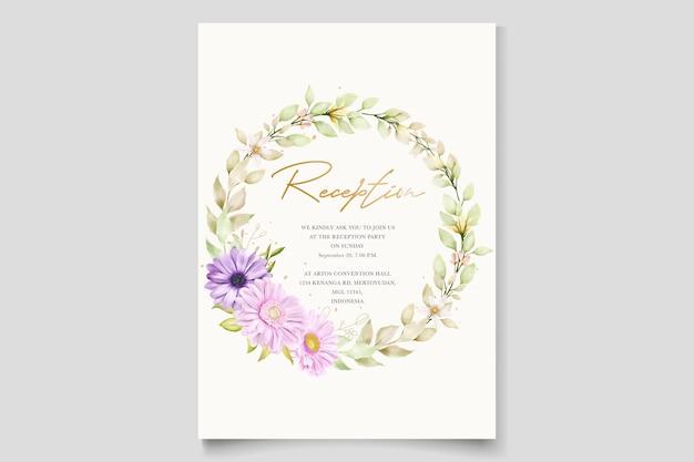 Elegante chrysant aquarel uitnodigingskaart