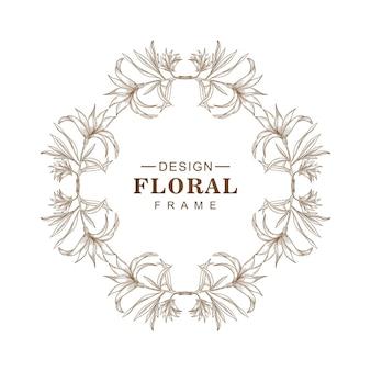 Elegante circulaire schets floral frame