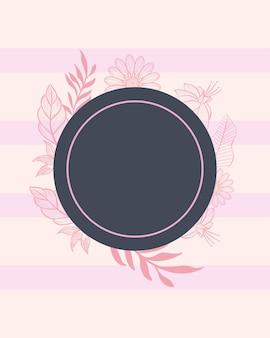 Elegante cirkel met bladeren en bloemen