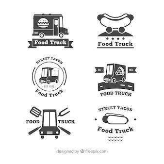 Elegante collectie van vintage logo's van de levensmiddelenwagen