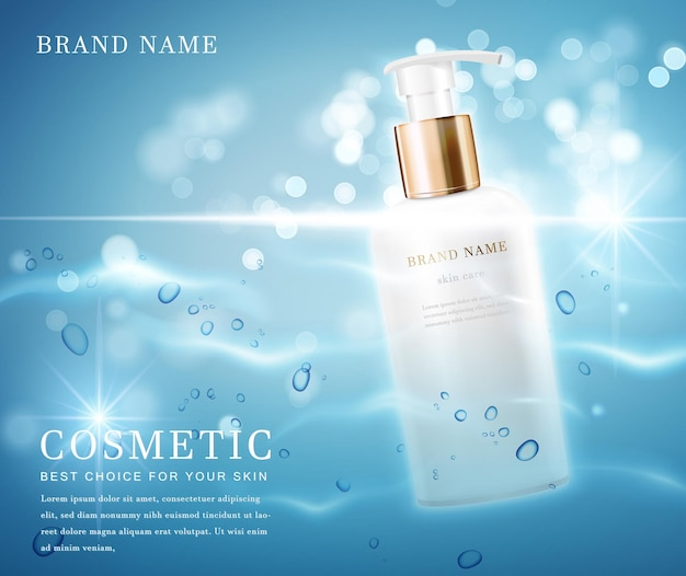 Elegante cosmetische flessencontainer met glanzend water glimmende achtergrond sjabloonbanner.