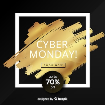 Elegante cyber maandag verkoop achtergrond met gouden tekst