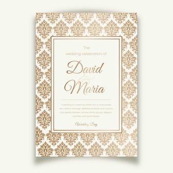 Elegante damast bruiloft uitnodiging sjabloon