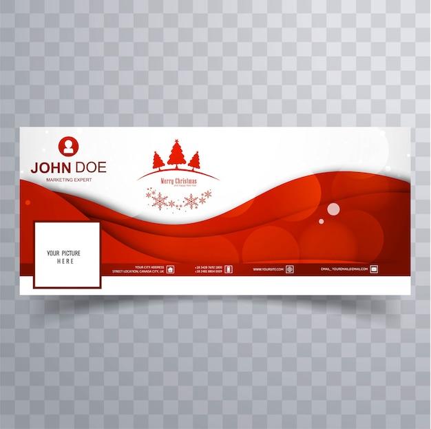 Elegante decoratieve vrolijke kerstmis facebook banner sjabloon vector