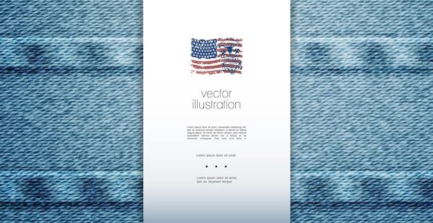 Elegante denim premium sjabloon met blauwe mooie traditionele jeans textuur achtergrond illustratie