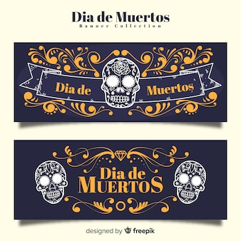 Elegante día de muertos banners met vintage stijl