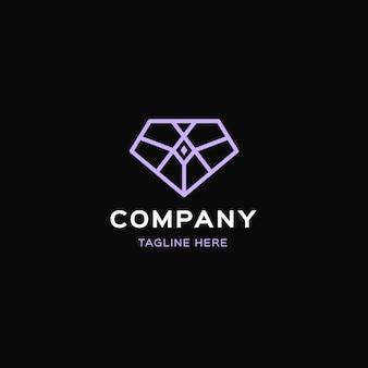 Elegante diamant logo sjabloon met slogan