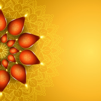 Elegante diwali-achtergrond met het ontwerp van olielampen
