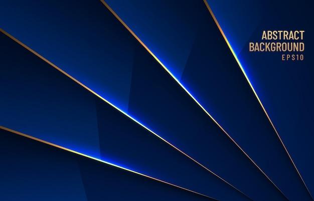 Elegante donkerblauwe metallic glanzende achtergrond overlappende laag met schaduw met gouden lijn luxe stijl.
