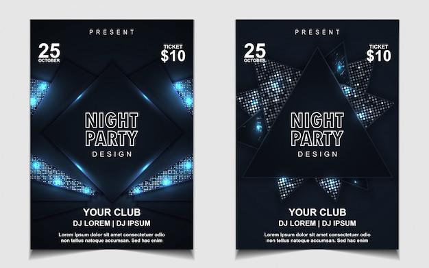 Elegante donkerblauwe nacht dansfeest muziek flyer of posterontwerp