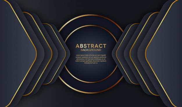 Elegante donkere overlappende lagenachtergrond met gouden cirkelvorm