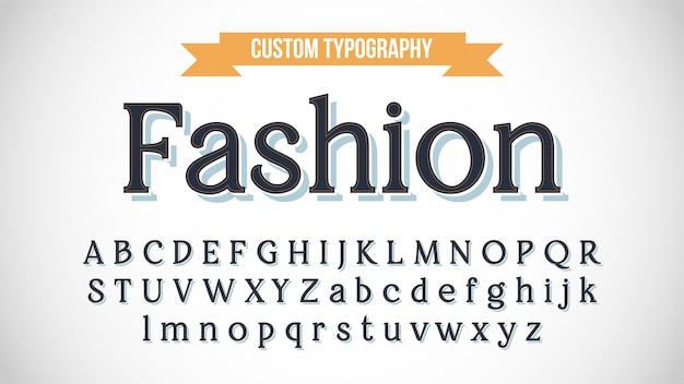 Elegante donkergrijze serif 3d-lettertype met achtergrondschaduw