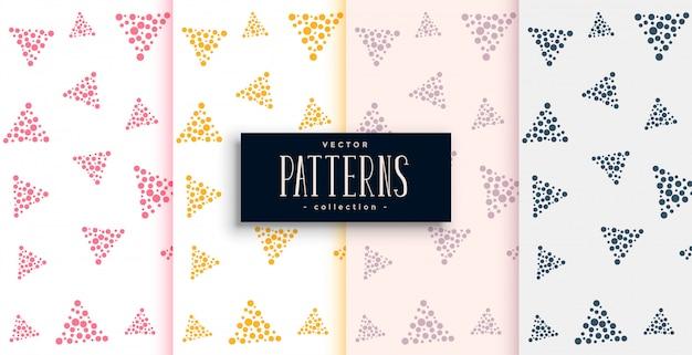 Elegante driehoek patronen set gemaakt met kleine cirkels