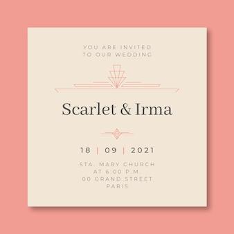 Elegante duotoon scharlaken en irma huwelijksuitnodiging Gratis Vector