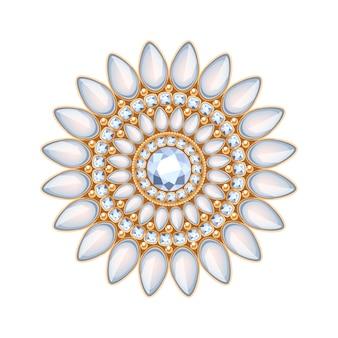 Elegante edelstenen sieraden decoratie. etnische bloemenvignet. goed voor het logo van de mode-sieradenwinkel. Premium Vector