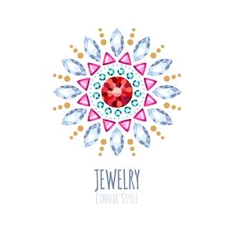 Elegante edelstenen sieraden decoratie. etnische bloemenvignetten. goed voor het logo van de mode-sieradenwinkel.