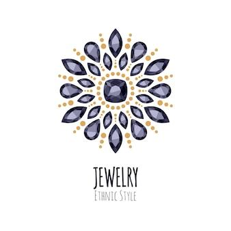 Elegante edelstenen sieraden decoratie. etnische bloemenvignetten. goed voor het logo van de mode-sieradenwinkel. Premium Vector