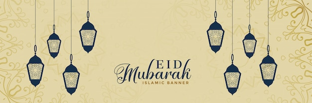 Elegante eid mubarak lampendecoratie