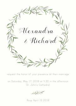 Elegante en leuke bruiloft uitnodiging met bloemen elementen
