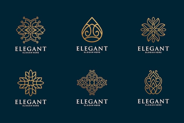 Elegante en luxe lijntekeningen logo-collectie