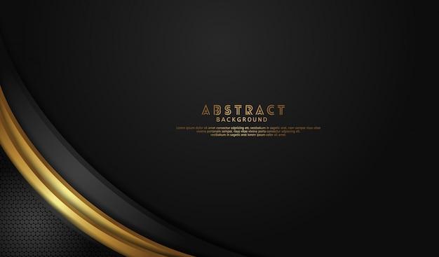 Elegante en luxe zwarte overlappende lagenachtergrond met helder lijnen gouden effect op dark