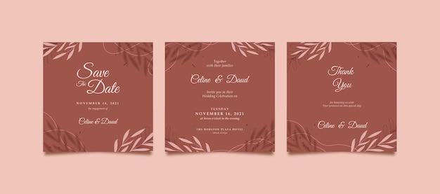 Elegante en mooie instagram-post voor bruiloft