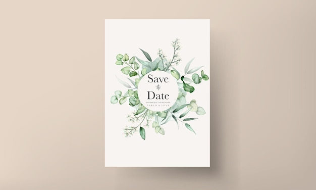Elegante eucalyptusbladeren aquarel bruiloft uitnodigingskaart