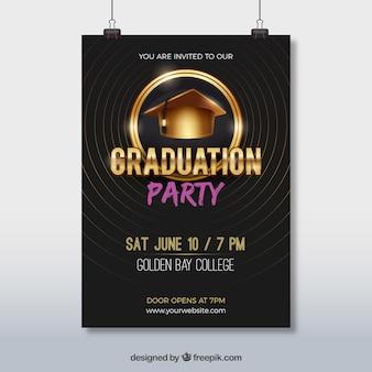 Elegante feestbrochure met graduatie cap