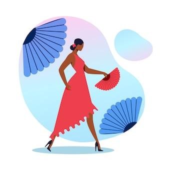 Elegante flamencodanseres vlakke afbeelding