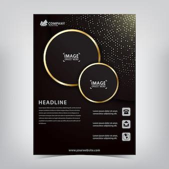 Elegante flyer met sprankelende vlekken en gouden gestreepte cirkels